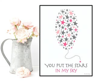 Nursery art girl, Illustration balloon stars, Baby illustration, Nursery art printable, Nursery wall art, Baby love poster, Baby girl decor
