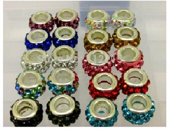 Lot of 10 beads 12 mm x 5 mm mixed color