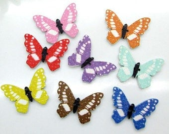 Set B 10 25 mm x 18 mm assorted color wooden Butterfly buttons
