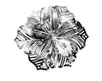 Set of 5 flowers 55 mm x 48 mm silver alloy