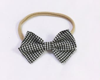 Black & white grid signature bow heaband