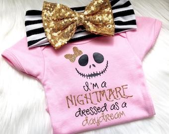 I'm a nightmare dressed as a daydream, nightmare, disney, skull, jack, pink, bow, daydream, Halloween