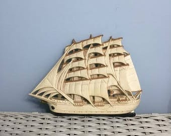 Vintage Set of 2 Burwood Sailing Ship Plaques