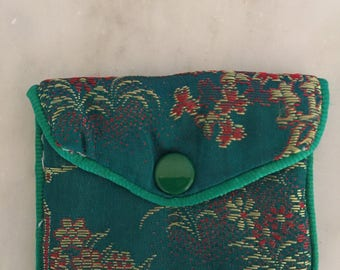 Vintage 1970's Green Silk Damask Ring Travel Case Ring Necklace Bag Ring Necklace Travel Bag Jewelry Storage Birthday Gift for her