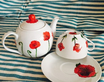 Teapot and Cup - red poppies on white porcelain hand painted