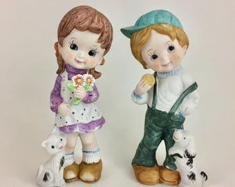 Vintage Boy and Girl Figurines