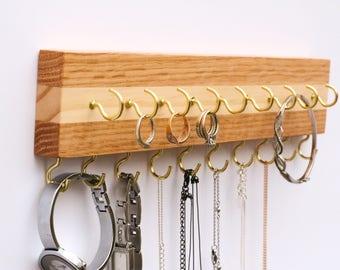 Oak & Pine Wood Wall Jewelry Organizer / Necklace Handmade Holder Hooks Key Holder Hanging Stand Rustic Decor / Best gift idea