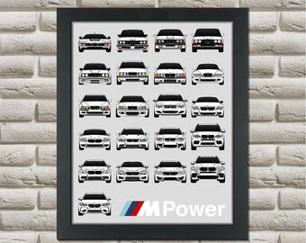 BMW M Car Generations Poster // 1M M1 M2 M3 M5 M6 X5M X6M // BMW Poster // BMW M Power Print // E30