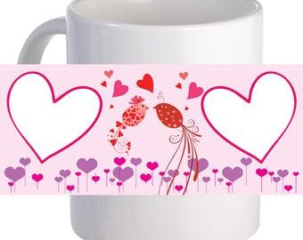 "Personalized ""Love Birds"" Coffee Mug With Custom Printed image, Name"
