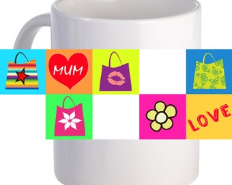 "Personalized ""Mum, Love"" Coffee Mug Custom Printed Name Message Image"
