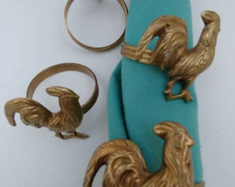 Solid brass rooster napkin holders, rooster napkin ring , brass table setting, set of 4 napkin holders, placesetting