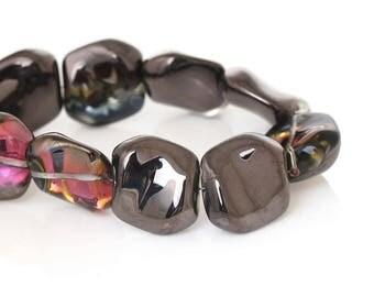 "5 color 18mm purple glass beads ""Puck irregular"""