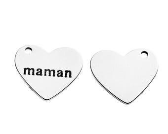 """5 pendants engraved """"MOM"""" heart stainless steel 1.8 cm"""