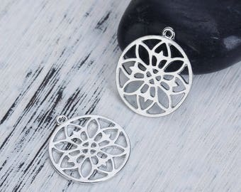 "5 charms ""Mandala/Buddhist"" openwork silver 2.4 cm"