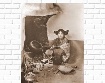 ON SALE Hopi - maiden drying corn meal at a fireplace at Mishongnovi or Oraibi - Arizona - 1898 - Vintage - Native American - Photo - Histor