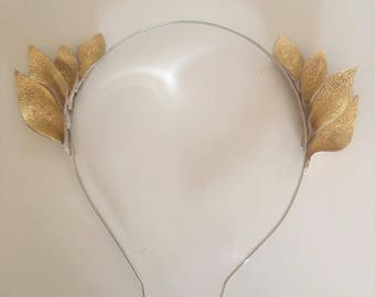 Fascinator - Mini Gold Leather Crown