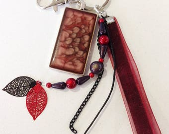 Jewelry bag Burgundy ribbons with pendant