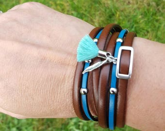 Cuff 2 turns brown and Blue Lagoon leather