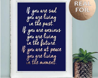 A4 Live In The Moment Inspirational Quote Print - Motivational Quote Print Rose Gold Home Decor - Wall Art - Quirky Bedroom Home Decor