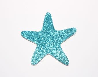 Large Starfish brooch pin blue glitter