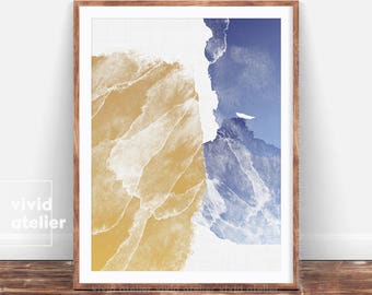 Watercolor Wall Art Print, Abstract Painting, Abstract Print, Modern Minimalist, Gold Blue Decor, Printable Digital Download, Large Poster