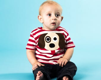 Dog T-Shirt, Baby T-Shirt, Toddler T-Shirt, Stripe T-shirt, Baby Boy T-Shirt, Baby Girl T-Shirt, Baby Boy Clothes, Baby Girls Clothes,