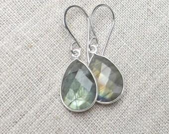 Labradorite earrings / Sterling silver labradorite / Labradorite teardrop earrings / Wedding earrings / Bridal earrings