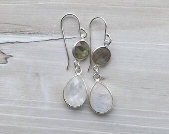 Labradorite moonstone earrings / Sterling silver dangle labradorite moonstone earrings / Small Double gemstone wedding earrings / Bridal