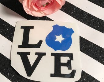 Stacked Police badge love car decal , police wife gift , law enforcement vinyl sticker , thin blue line , Sheriff pride , back the blue