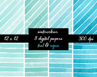 Aqua Teal Watercolor Stripes Digital Paper, scrapbook paper, watercolor paper, hand painted digital paper, watercolour background clipart