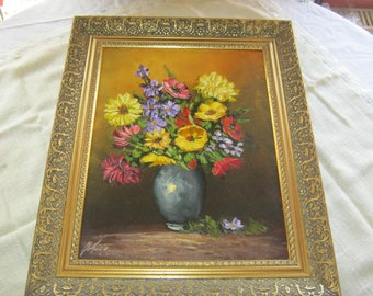 Oil painting Bouquet of Jokertz signature at 1970 with frame CA, 50/40 cm