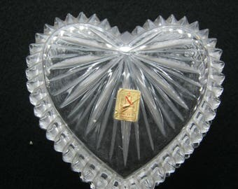 Vintage Bleikristal heart with lid of Nacktmann Germany at 1960