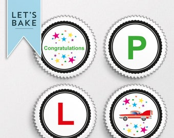 Driving,passed, cupcake topper, cake topper, chocolate covered biscuits ,marshmallow lolly, edible, driving test cake