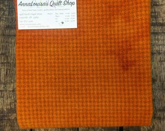Hand-dyed Wool Fat Quarter -- Pumpkin Houndstooth -- FQ009