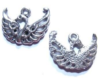 LAST set - 20 mm silver Swan charms x 2
