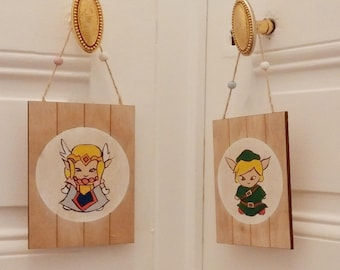 Zelda and Link sign / geekly geek home sign decoration / perfect for room or toilet separation sign. Video Games illustration