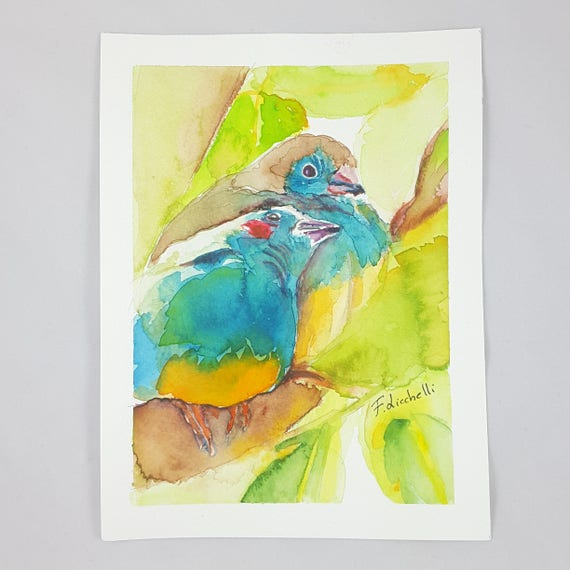 Blue birds, A4, A5 giclée fine art print of original artwork, watercolor on paper, nursery, babies, home office decoration, baby shower.