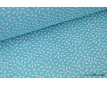 Tissu coton imprimé dessin grains de blé turquoise x50cm