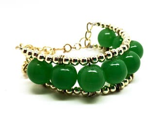 Women's jewellery green beaded adjustable bracelet - Inspired by the exotic Brazilian carnivals. Gifts box included. Birthday Gift for girls