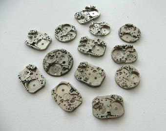 13 pieces. Vintage Watch Plates, Steampunk Jewelry Supply, For Steampunk Altered Art Gear