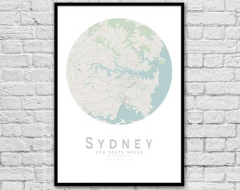 SYDNEY New South Wales City Street Map Print | Wall Art Poster | Wall decor | A3 A2