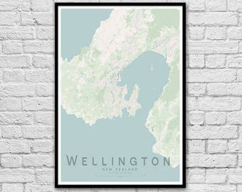 WELLINGTON New Zealand City Street Map Print | Travel Print | Valentine's Day Gift | Apartment Wall Art | Minimalist Wall decor | A3 A2