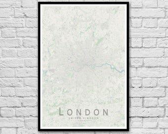LONDON, United Kingdom City Street Map Print | Wall Art Poster | Wall decor | A3 A2