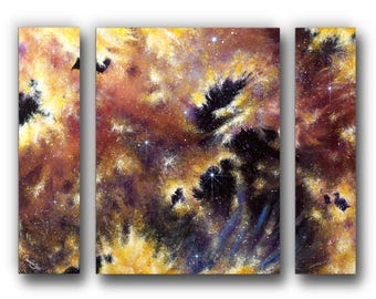 30 in. x 24 in. Giclée, Canvas Print, Nebula, Abstract, Triptych, Reproduction, Acrylic Painting, Contemporary Art, Stars