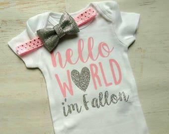 Newborn Baby Girl Hello World Pink Silver Glitter Homecoming Hospital Bodysuit Headband