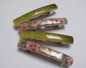 4 Vintage French Barrettes 1 Pair Patterned Green and 1 Pair Pink &Green Floral 2 1/8 inch (53 mm) long
