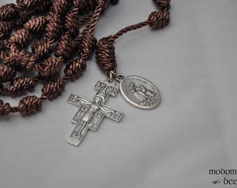Brown St. Francis of Assisi Patron Saint Knotted Twine Rosary Featuring a San Damiano Crucifix