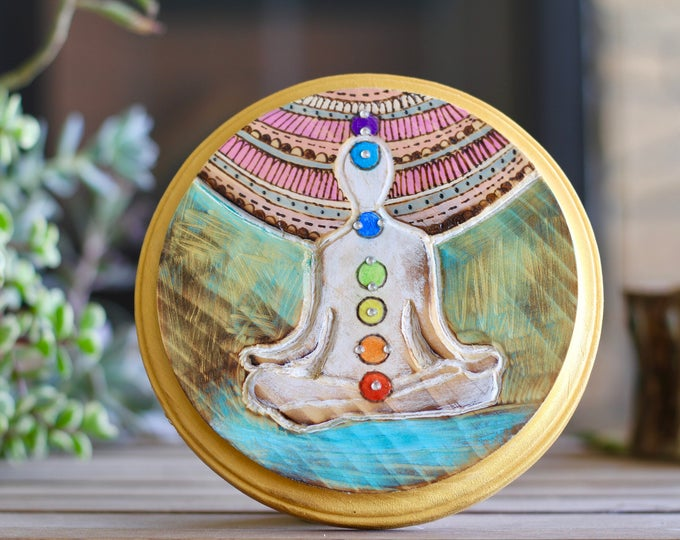 Handcrafted Chakra Wood Wall Hanging