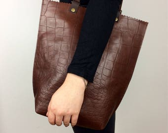 Brown Leather Bag, Brown Crocodile Effect Leather Tote Rucksack