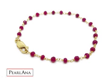 Real red ruby bracelet with 14 K gold plated chain